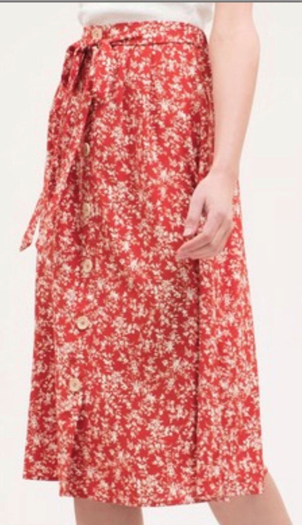 plus size red floral knee length skirt