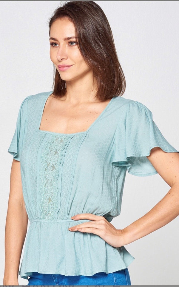 sage lace blouse