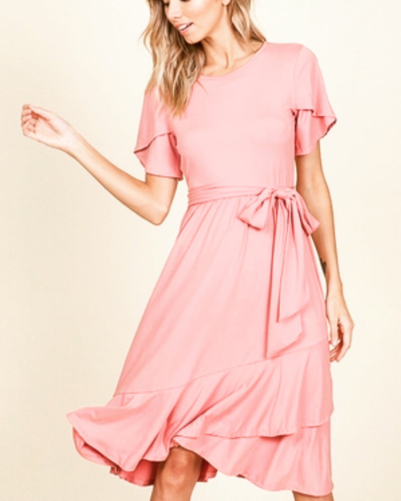 Blush faux wrap dress