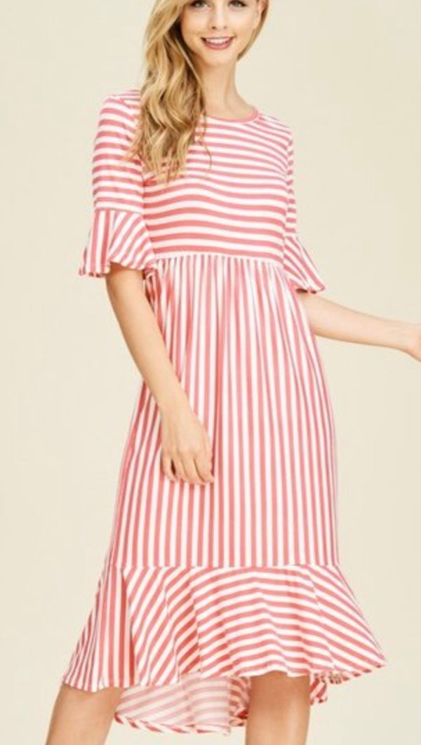 plus size coral stripe dress