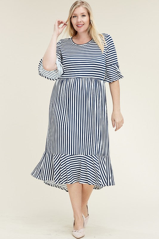 plus size navy stripe dress