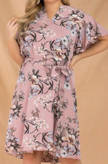 plus size blush floral print knee length dress