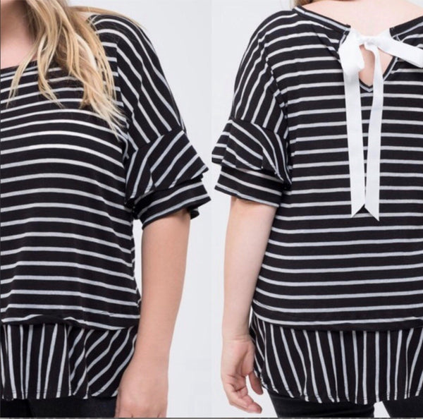 plus size black and white stripe top featuring a self tie neckline