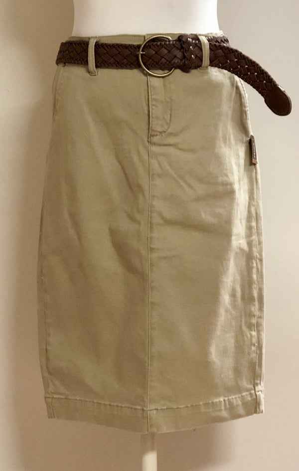 khaki denim skirt with belt and 5 pockets