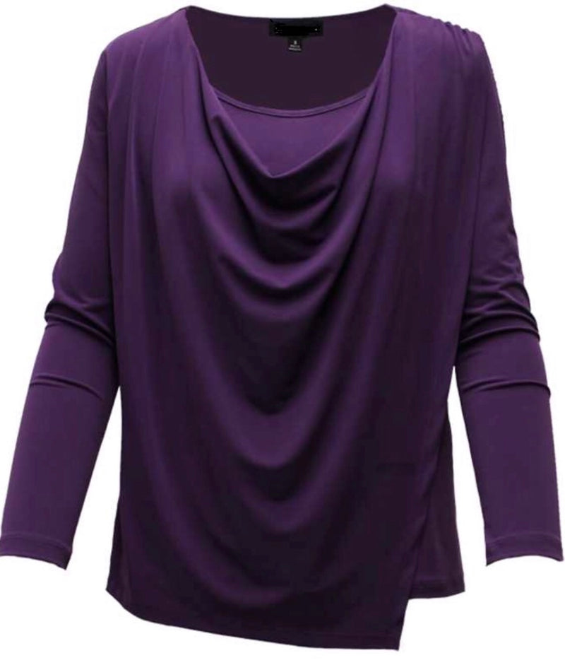 purple blouse with long sleeves