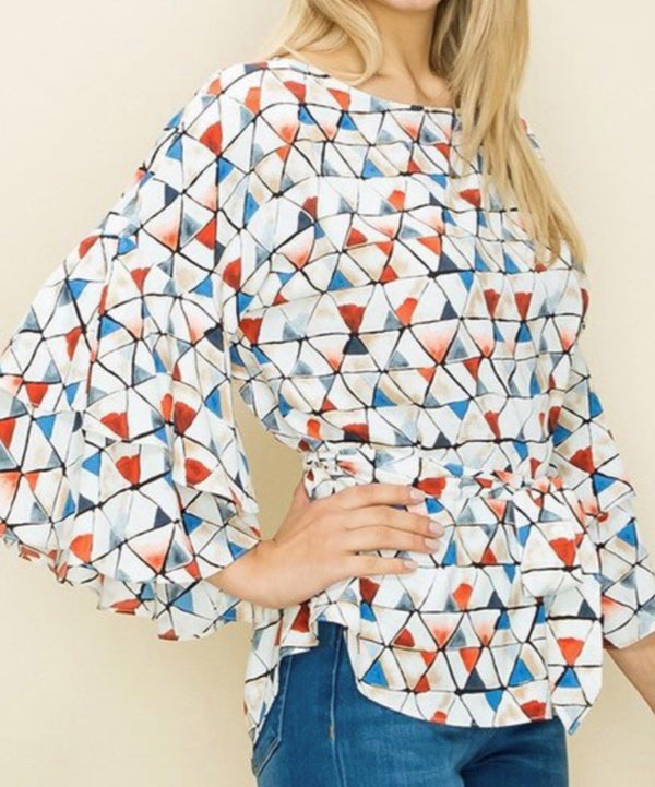 triangle print tiered ruffle blouse with belt