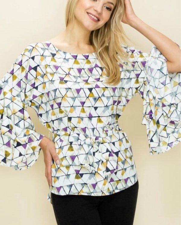 triangle print tiered ruffle sleeve with a belt