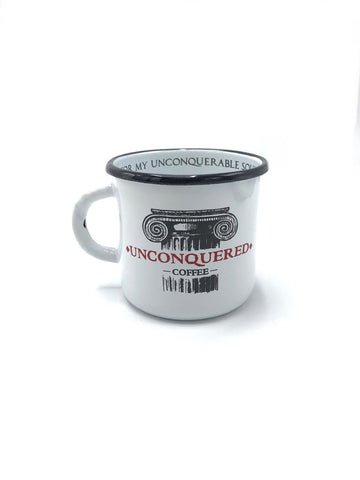 The Unconquered Coffee enamel mug