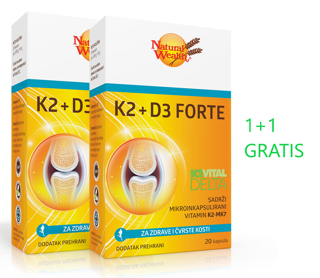 Natural Wealth K2+D3 forte kapsule 1+1 GRATIS