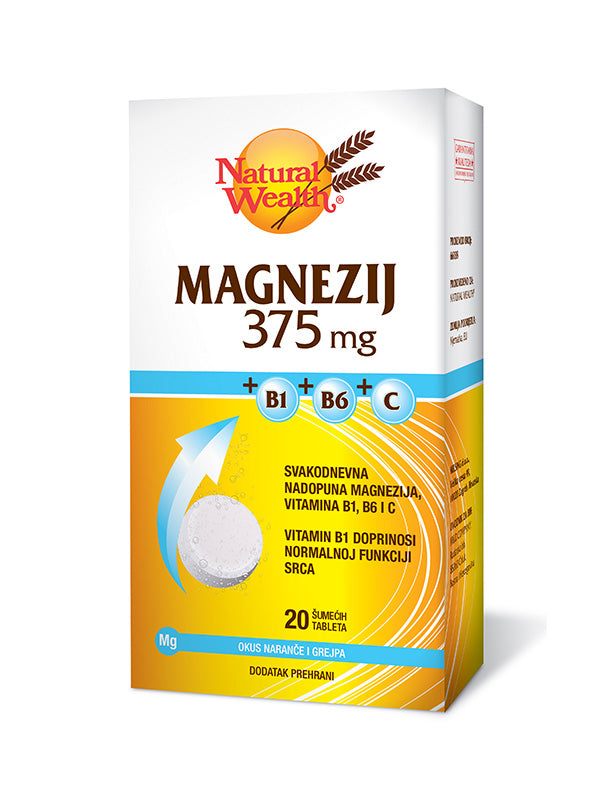 Natural Wealth Magnezij 375 mg+B1+B6+C 20 šumećih tableta