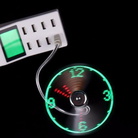 Mini USB Flexible Clock Fan - Gadget Runway