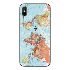 World Map Travel Just Go Soft Clear Phone Case Cover