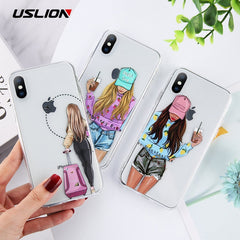 USLION COOL Girl Transparent Case For iPhone
