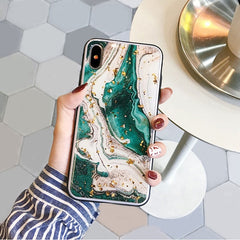 Fashion gold foils agate marble Case for iPhone