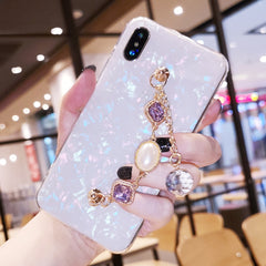 Diamond chain bracelet shell phone case for iPhone