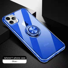 For iPhone 11 Case , Clear Crystal Body Anti-Scratch Shockproof Case with 360° Rotation Ring Kickstand for iPhone 11 Pro max