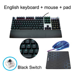 DGGR 107 Keys Gaming Mechanical Keyboard Wrist Support And Mouse