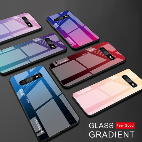 Color Case For Samsung Galaxy Tempered Glass Cover