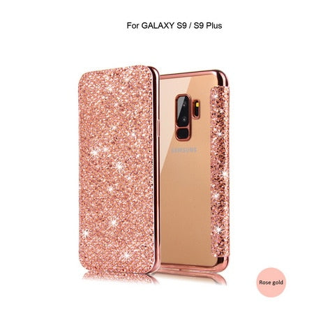 Samsung Galaxy S10 Case Luxury Bling Glitter Flip Leather
