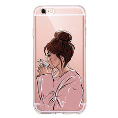 Female boss coffee Soft Silicone phone Case For iPhone