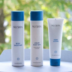Liquid Body Bar by Nu Skin with grapefruit scent available at Moxie Beauty Care - hands