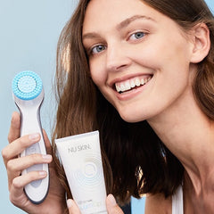 ageLOC® LumiSpa® Head (Gentle) with model - at Moxie Beauty Care