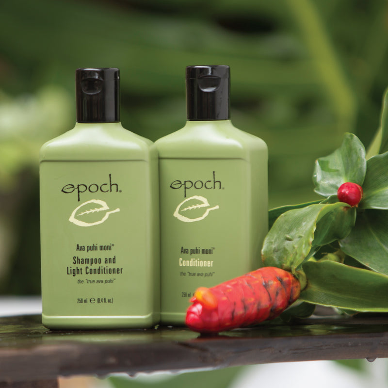 Epoch® Ava puhi moni® Shampoo and Light Conditioner - available at Moxie Beauty Care