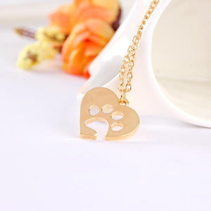 Best Paw Print Heart Necklace