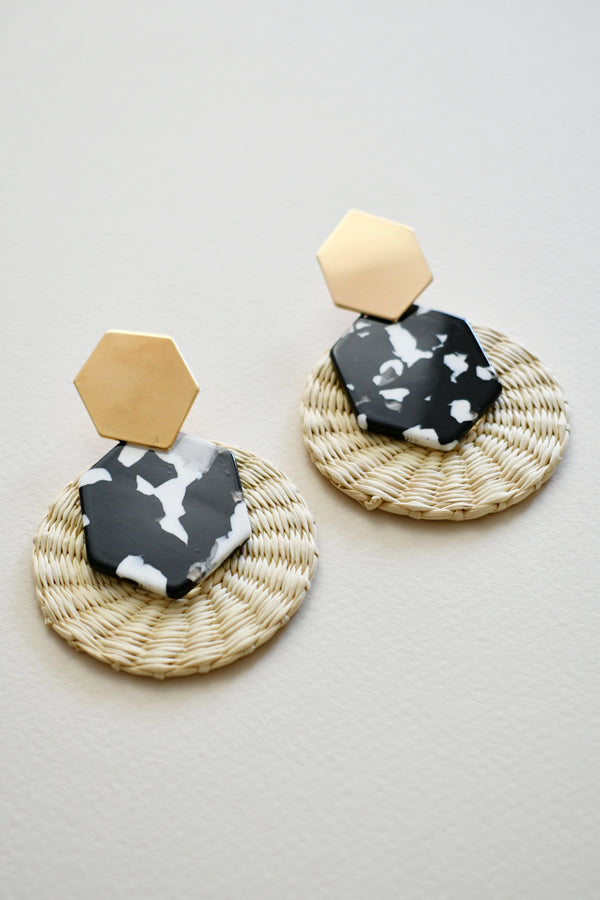 Elisa Black | Palm Tortoise Statement Earrings