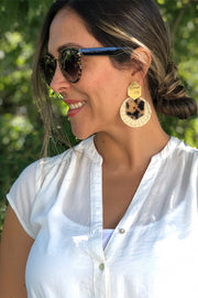 Animal print tortoise and palm statement earrings
