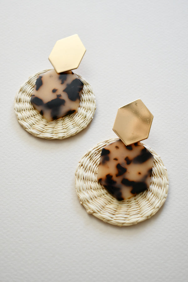 Elisa Leopard | Palm Tortoise Statement Earrings