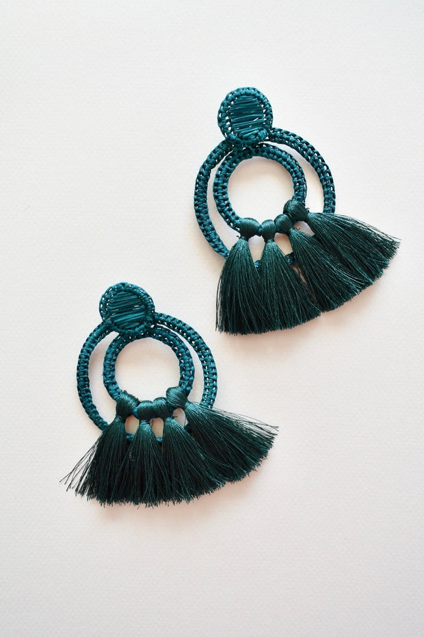 Rings Green | Palm Tassel Statement Earrings