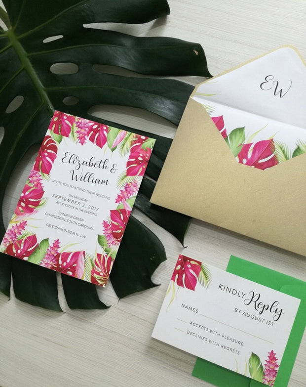 Monstera Red - Wedding Invitation