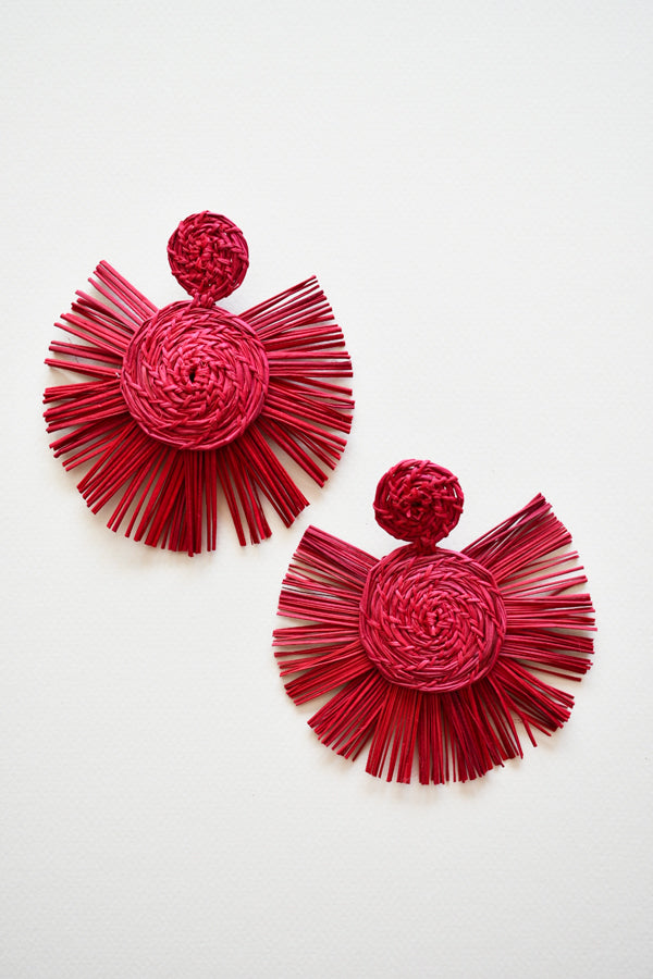 Sol | Palm Earrings - Red