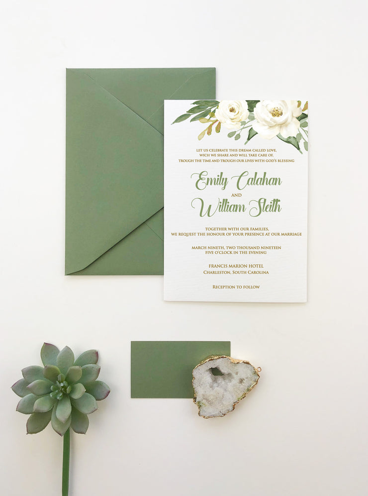 White Rose - Wedding Invitation