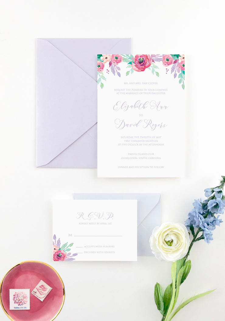 Flower Garland Lavander - Wedding Invitation