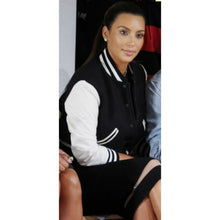 Load image into Gallery viewer, Kim Kardashian Varsity Jacket High School Letterman Jackets for Women White Black Color