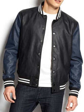 Load image into Gallery viewer, Celebrity Fashion Leather Black Men's Varsity Jacket Letterman Jackets