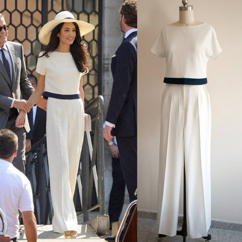 Amal Clooney Suit White Jumpsuit Cream Pants Wide leg jumpsuit