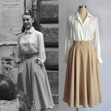Load image into Gallery viewer, Audrey Hepburn White Blouse 1950's Pleated Blouse from Roman Holiday
