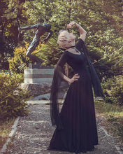 Load image into Gallery viewer, Black Gothic Witch Dress Larp Vampire Costume