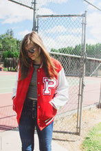 Load image into Gallery viewer, Custom Letter P Red Jacket White Sleeve Varsity Jacket