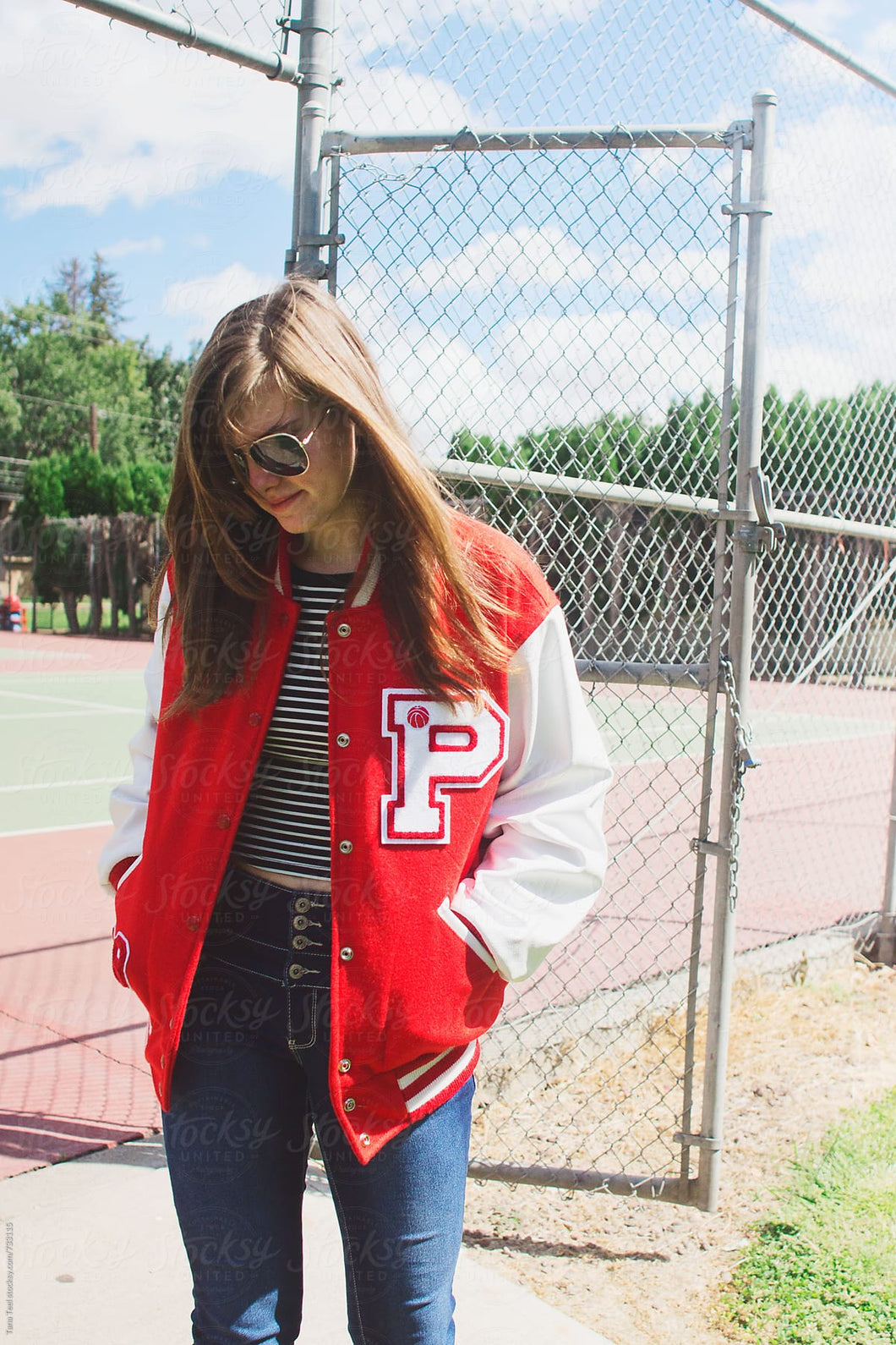 Custom Letter P Red Jacket White Sleeve Varsity Jacket