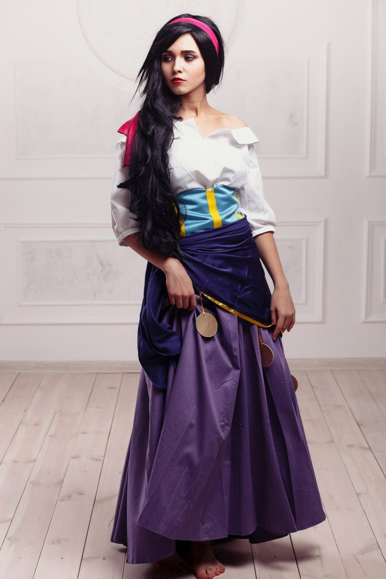 Esmeralda Dress Esmeralda Costume White Purple Outfit from Hunchback of Notre Dame