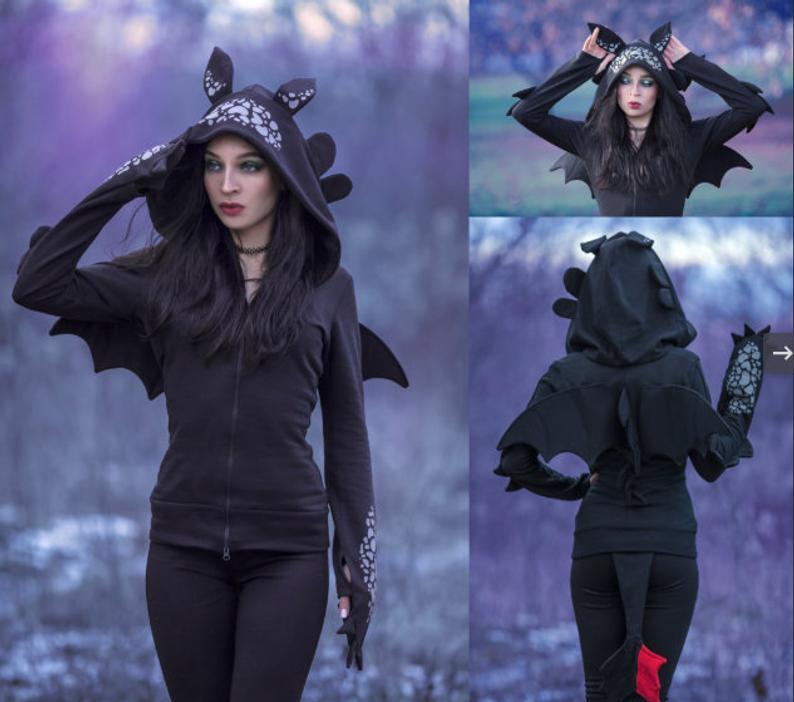 Female Black Dragon Hoodie Black Dragon Outfit Cosplay Costume