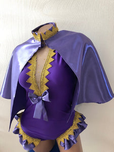 The Greatest Showman Anne Wheeler Costume Purple Outfit for Women Adults Bodysuit Cape Gloves