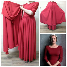 Load image into Gallery viewer, The Handmaid's Tale Costume Bonnet Red Dress Hooded Cloak
