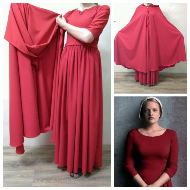 The Handmaid's Tale Costume Bonnet Red Dress Hooded Cloak