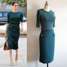 Load image into Gallery viewer, Meghan Markle Green Dress Green Outfit Knit Top and Skirt