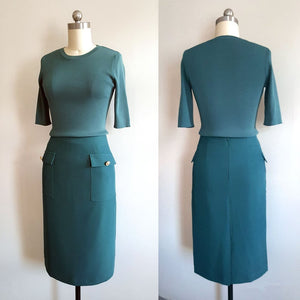 Meghan Markle Green Dress Green Outfit Knit Top and Skirt